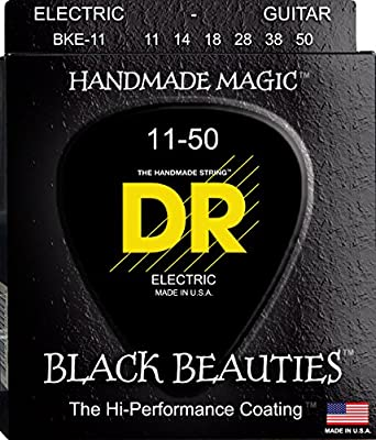 DR Strings Electric Guitar Strings, Black Beauties - Extra-Life Black Coated, 11-50