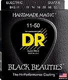 DR Strings Electric Guitar Strings, Black Beauties - Extra-Life Black Coated, 11-50