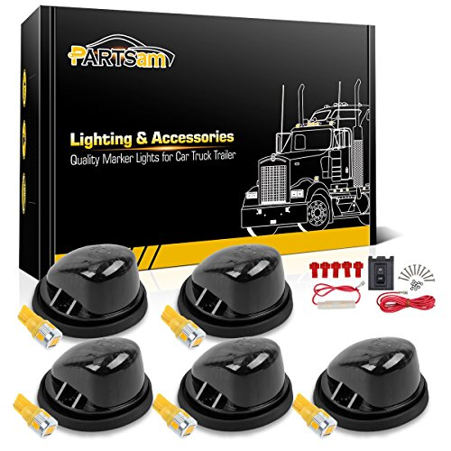 - Partsam 5X Cab Marker Roof Running Light 1313 Smoke Round Cab Light + 5X T10 6-5730-SMD Amber LED +Wiring Compatible with Chevrolet/GMC C/K Serie/Suburban 1973-1987 Full Size Pickup Trucks