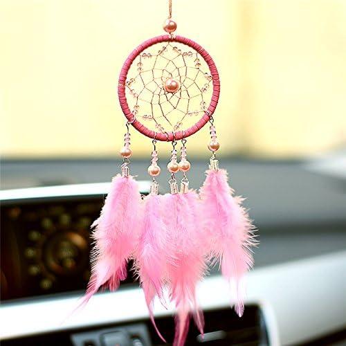 7cm//2.76in Prokth Capteur de r/êve D/écor pour enfants//adultes Tricolore Mini D/écoration Pour voiture Original Fait /à la main rose