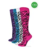 Wrangler Women's Ladies Zebra Boot Socks 4 Pair Pack, Hot Pink/Teal/Purple/White, Medium