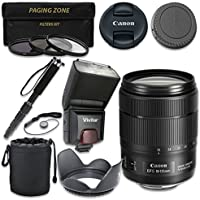 Canon EF-S 18-135mm f/3.5-5.6 IS USM Lens with Vivitar TTL Flash + 3pc Filter Kit + Monopod