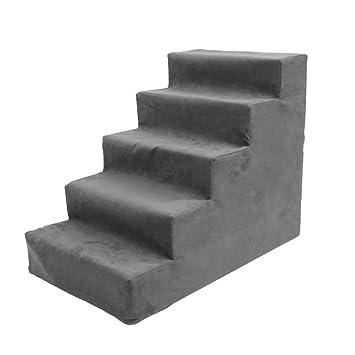 SSRS Escaleras para Perros para Cama Alta de 5 Pasos, pequeño Taburete para Mascotas y Gatos, sofá Cama, Ante de Esponja, 60 × 40 × 50 cm (Color : ...