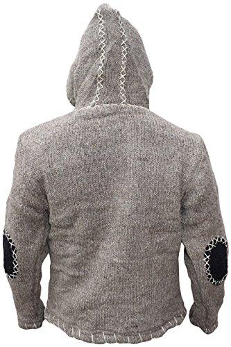 tejida Mix con lana Sudadera Invierno en de diagonal fabricada Brown Black con cierre capucha Light natural Festival y del UEdqHd4w