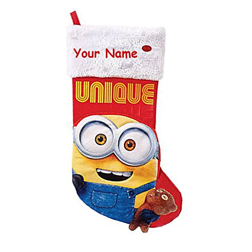 Personalized Universal Studios Minions Christmas Stocking Decoration with Sound - 18 Inches -