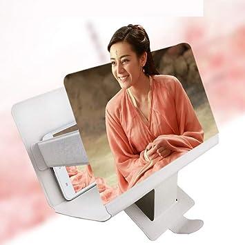 George zhang Soporte de Amplificador de Pantalla de teléfono móvil portátil 32 Pulgadas HD 3D TV proyección película Lupa Perezosa,White: Amazon.es: Deportes y aire libre