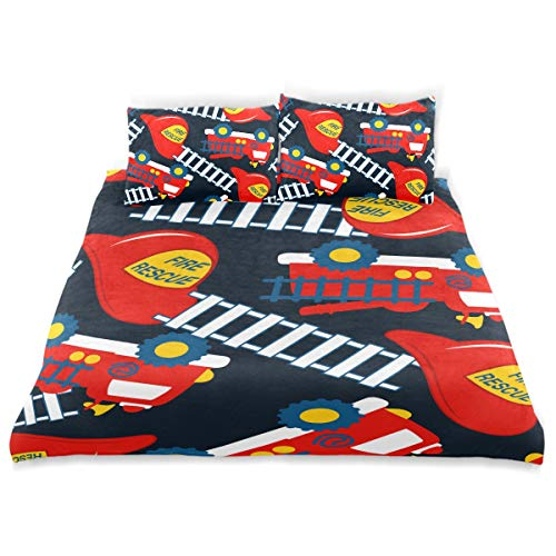 YCHY Duvet Cover Set, Fire Rescue with Red Helmet and Truck Print, Decorative 3Pc Bedding Sets with 2 Pillow Shams Twin Size