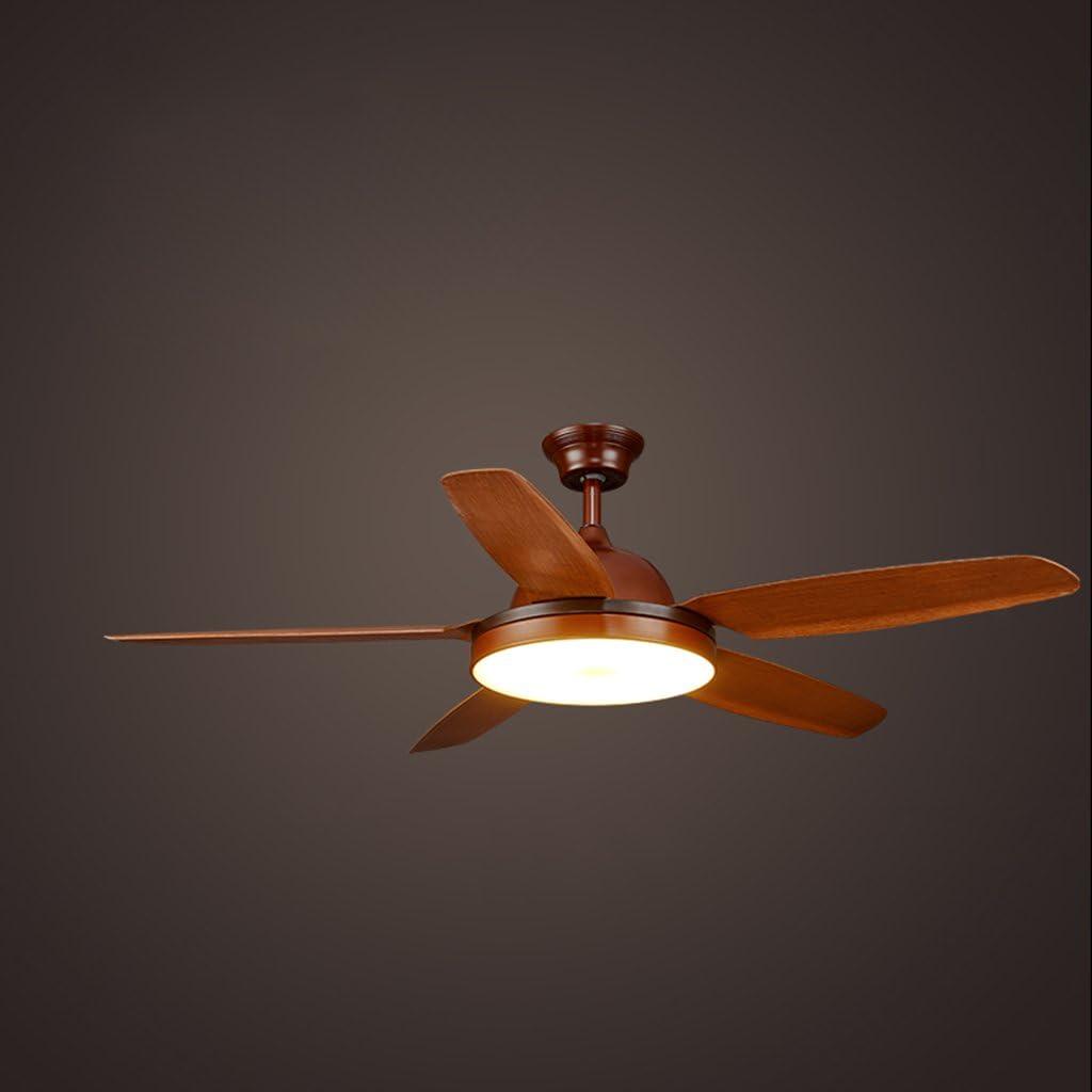 YAN Jun Ventilador de Techo Ventilador de Techo Retro Dormitorio mediterráneo Sala de Estar Comedor Madera E27 Luz LED con lámpara de Ventilador