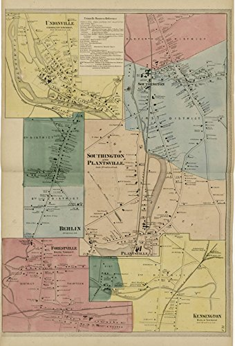 Historic 1869 Map | Atlas of Hartford and Tolland counties | Unionville; Southington and Plantsville; Berlin; Forestville; Kensington|Atlas of Hartford and Tolland counties, Conn. 44in x 65in - Tolland County Map
