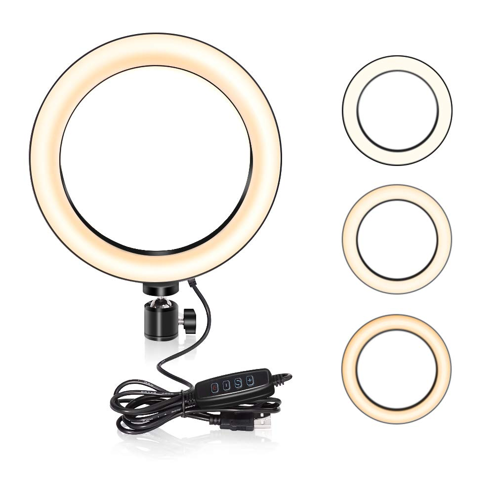 LED Ring Light, UBeesize Dimmable Mini Ring Light for YouTube Videos, Selfie Makeup with iPhone/Android Phone, 3 Colors Mode & 10 Level Brightness Temperature 3000K-5000K