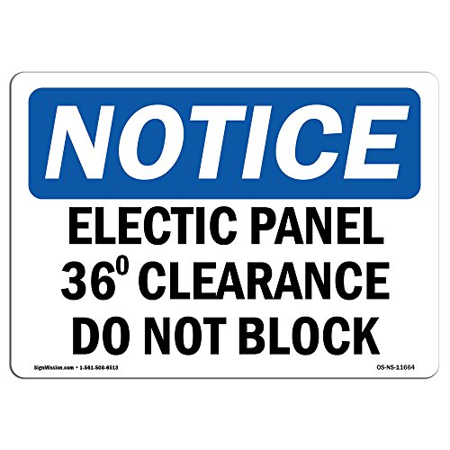 OSHA Notice Signs - Electrical Panel 36 Clearance Sign | Extremely Durable Made in The USA Signs or Heavy Duty Vinyl Label Decal | Protect Your Construction Site, Warehouse & Business