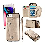 Mdkrz iPhone 8 Case, iPhone 8 Card Holder Case,Premium PU Folio Flip iPhone 7 Wallet Case with Credit Card Slots Shock-Absorbing Protective Case for iPhone 7/8 (iPhone 8, Gold)