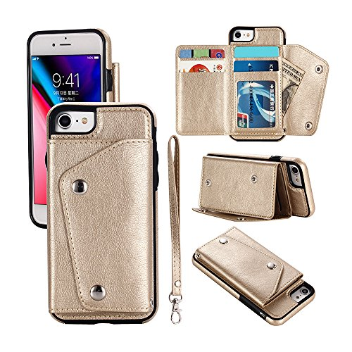 Mdkrz iPhone 8 Case, iPhone 8 Card Holder Case,Premium PU Folio Flip iPhone 7 Wallet Case with Credit Card Slots Shock-Absorbing Protective Case for iPhone 7/8 (iPhone 8, Gold) by Mdkrz