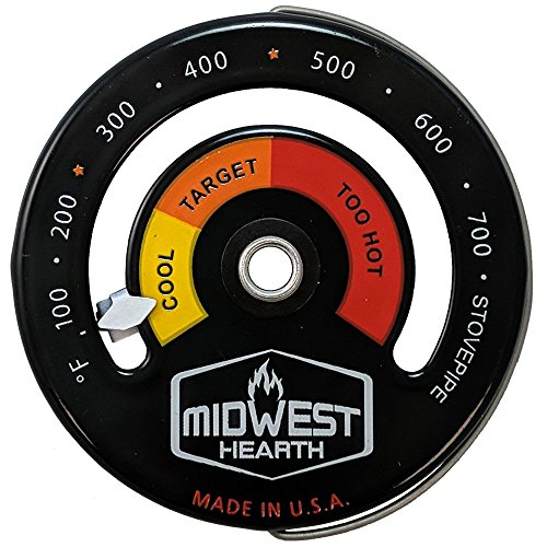 Midwest Hearth Wood Stove Thermometer - Magnetic Chimney Pipe Meter by Midwest Hearth