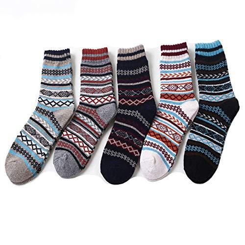 YEMEKE Mens Cozy Socks Crew Vintage Style Thick Wool Warm Winter Crew SocksThick 5 Pack