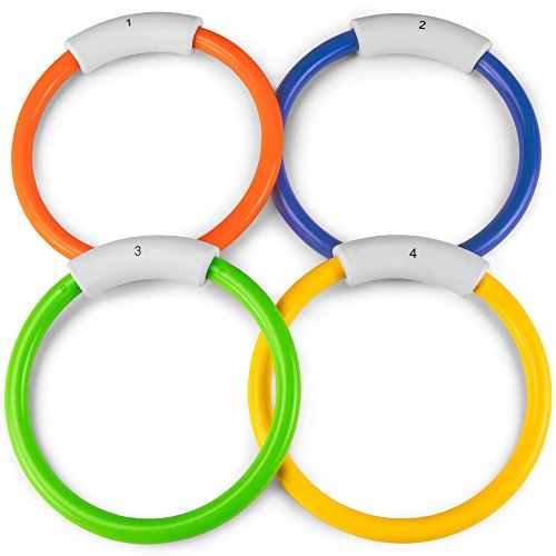 Sol Coastal Deep Down Divers - Set of 4 Sinking Pool Rings in Assorted Colors, Swim & Dive Water Toy