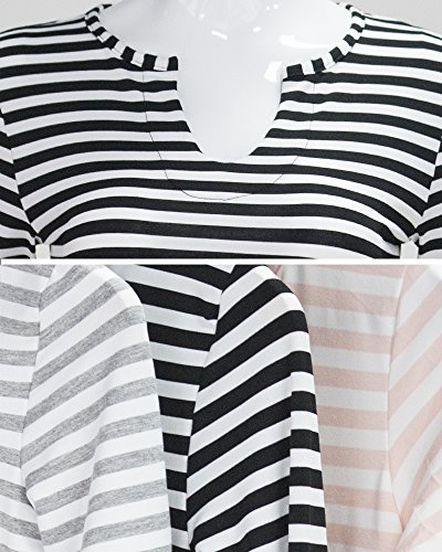 GOOTUCH - Camiseta de manga larga - Rayas - para mujer gris