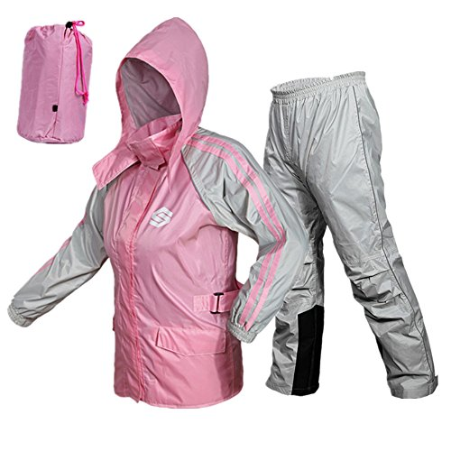 ILM 5 Colors Motorcycle Rain Gear Suit Powersports Jacket Pants For Women Men Riding (S, PINK) (Motorcycle Gear For Women compare prices)