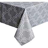 Tablecloth 52 X 52 Inch For Square Tables, Light Grey Printed Table Covers  Waterproof