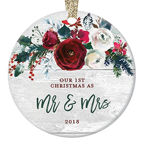 "Modern Farmhouse Mr & Mrs Ornament 2018, 1st Christmas Married, First Gift for Newlywed Couple Bride Groom Rustic Present Ceramic Keepsake Present 3"" Flat Circle Porcelain with Gold Ribbon & Free Box"