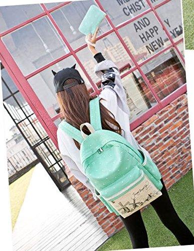 Tibes casuale scuola tela di canapa zaino da viaggio + Borsa a tracolla + borsa per le ragazze adolescenti Blue Water