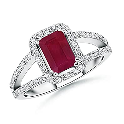 Angara Diamond Split Shank Emerald-Cut Natural Ruby Halo Ring xsHH6dRC7