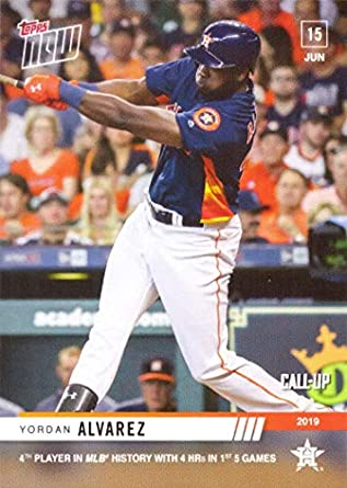 2019 Topps Now Baseball 382 Yordan Alvarez Pre Rookie Card 4th Player In History To Hit 4 Home Runs In 1st 5 Games Only 1041 Made