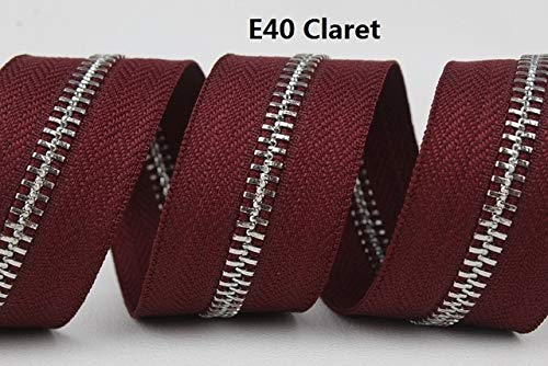 E40 Peach - Maslin 5# babypink Pink Peach red hotpink red Claret Double Sliders sivler Zipper roll 2 Ways Zipper Zip Head can be Both Directions - (Color: E40 Claret, Size: 5#, Length: 10 Yards)