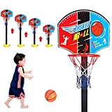 Goodplay Kids Mini Portable Ajustable Indoor Outdoor Basketball Stand Basketball Hoop Toy with one basketball and one Inflator for Children