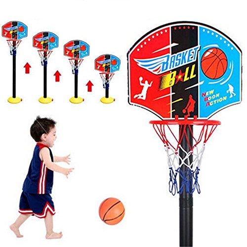 Goodplay Mini Adjustable Basketball Hoop Toy Set Stand Ball Pump Backboard Net, Outdoor Indoor Sports Train Equipment Portable Basketball for Kids with One Inflatable One Basketball