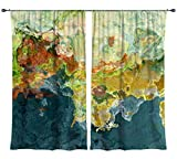 Abstract art draperies, set with two 50''x84'' panels in teal, orange, green, The Finer Things