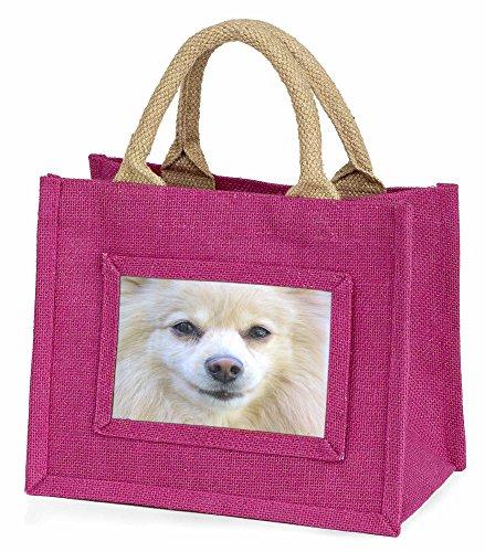 Advanta–Mini Pink Jute Tasche Japanischer Spitz Hund Little Mädchen klein Einkaufstasche Weihnachten Geschenk, Jute, pink, 25,5x 21x 2cm