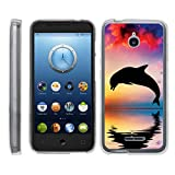 TurtleArmor | Compatible for Alcatel Acquire Case | Streak Case | Ideal Case [Flexible Armor] Ultra Slim Flexible Clear TPU Case Fitted Soft Bumper Cover Animal Design - Dolphin Jump
