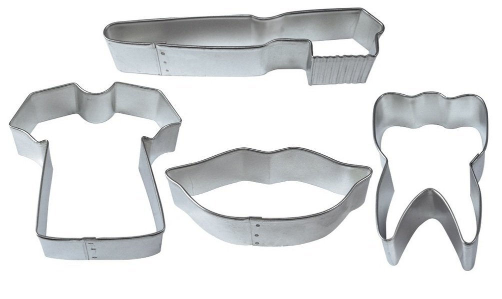 "R&M International 2002 Dental Cookie Cutters, Scrub Shirt, Lips, Tooth, Toothbrush, 4-Piece Set 2 Set of 4 tinplated steel dental themed/shaped cookie cutters Includes: 3.5"" Scrubs Tee Shirt, 3.5"" Lips, 2.5"" Tooth, and 5"" Toothbrush High-quality cutters cut through a variety of doughs easily and can also be used on sandwiches, fondant or craft clay - don't limit your imagination!"