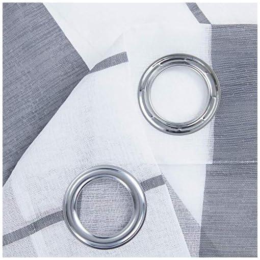 Topfinel Tende Voile Trasparente Occhielli con Strisce Decorativi Finestra Balcone Casa 140x260cm Grigio 2 Pezzi