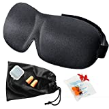 Sleep Mask Set - Sleeping Mask Lightweight of Natural Cotton - 3D Contoured Comfort Sleep Mask with Adjustable Strap and Ear Plugs - Night Eye Sleep Mask for Women and Men - Perfect For Travel - Black