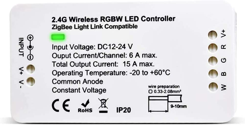 Zigbee Controller -RGBW Controller DC 12V-24V LED Strip Light Smart Controller work with Amazon Echo Plus,Hub Bridge