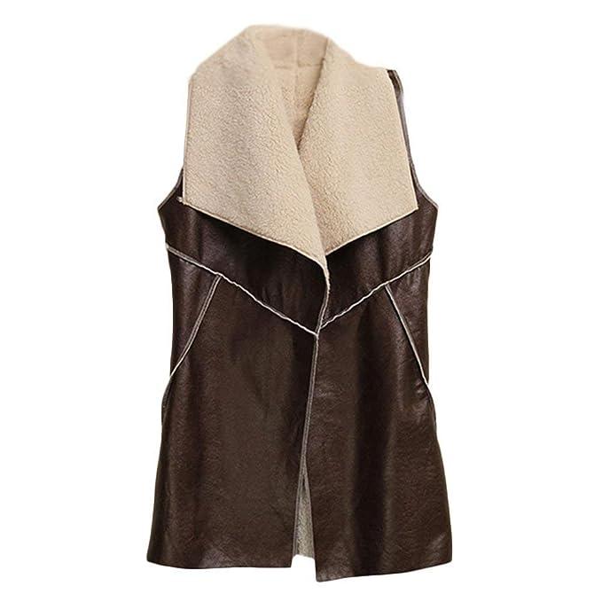 Lunga Donna Fashion Elegante Sleeveless Pelle Gilet Autunno 76qd56w
