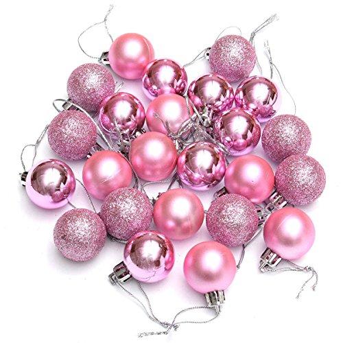 SODIAL(R) Ornament Ball 24Pcs Chic Christmas Baubles Tree Plain Glitter Xmas Ornament Ball Decoration Pink