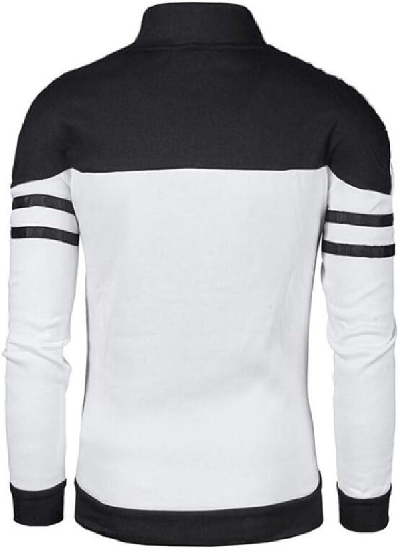 XQS Mens Long Sleeve Patchwork Hooded Sweatshirt Top Tee Outwear