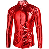 4d7a66bf1 Jinidu Mens Metallic Shiny Nightclub Slim Fit Long Sleeve Button Down Shirt  For Disco Party
