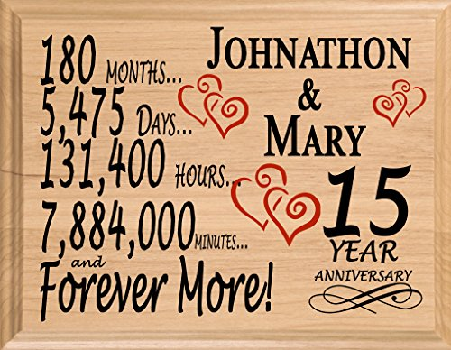 Broad Bay 15th Personalized 15 Year Anniversary Wedding Gift for Wife Husband Couple Him Her