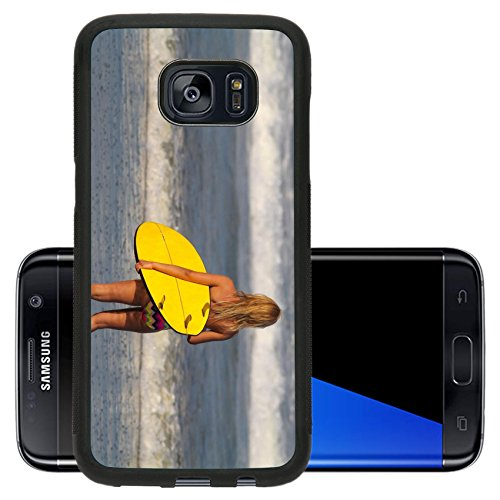 Liili Premium Samsung Galaxy S7 Edge Aluminum Backplate Bumper Snap Case Picture of surfer girl Bali Indonesia 28248866