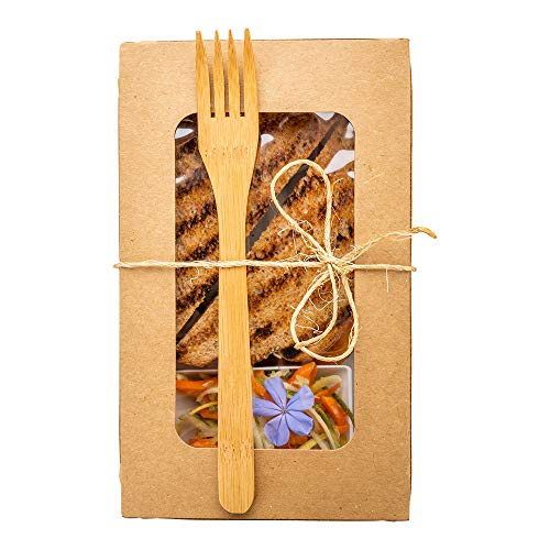"Bamboo Fork, Bamboo Dinner Fork - Disposable and Nature-Friendly - Restaurants, Catering, Food Trucks, Take Out - 8"" - 100ct Box - Restaurantware"