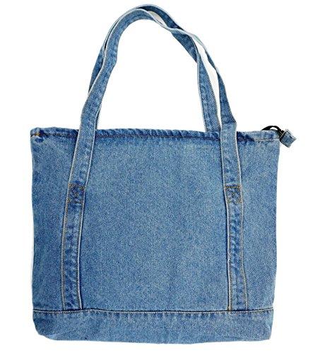 Yunzh Casual Denim Shoulder Bags,Classic Canvas Bag,Denim Tote Shoulder Handbag,Shopping School Travel Pockets