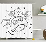 Lunarable Boy's Room Shower Curtain, Seventies Pop Inspired Retro Composition Doodle Video Game Controller, Fabric Bathroom Decor Set with Hooks, 70 inches, Charcoal Grey White