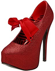 Bordello Womens Glitter Mary Jane Platforms Red Bow 5 3/4 Inch Heel Sexy Sparkly Pumps
