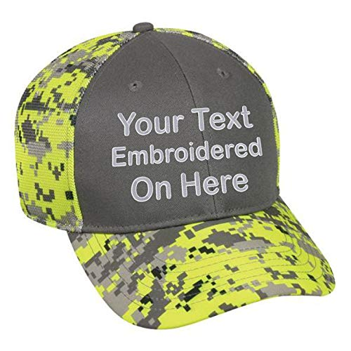Custom Hat, Embroidered. Your Own Text. Adjustable Back. Curved Bill Many Colors (Charcoal Front/Neon Yellow Digital Camo)