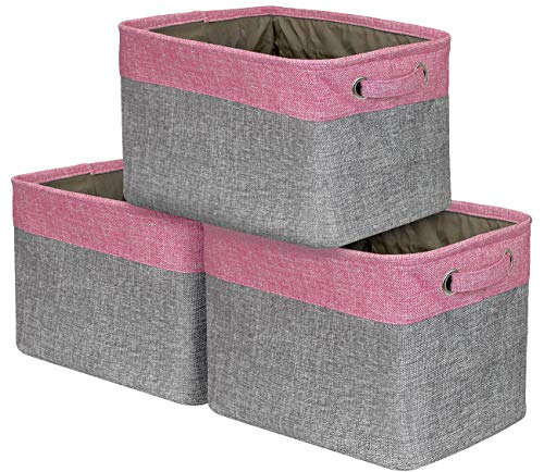 Sorbus Storage Large Basket Set [3-Pack] - 15 L x 10 W x 9 H - Big Rectangular Fabric Collapsible Organizer Bin Box with Carry Handles for Linens, Towels, Toys, Clothes, Kids Room, Nursery (Pink)]()