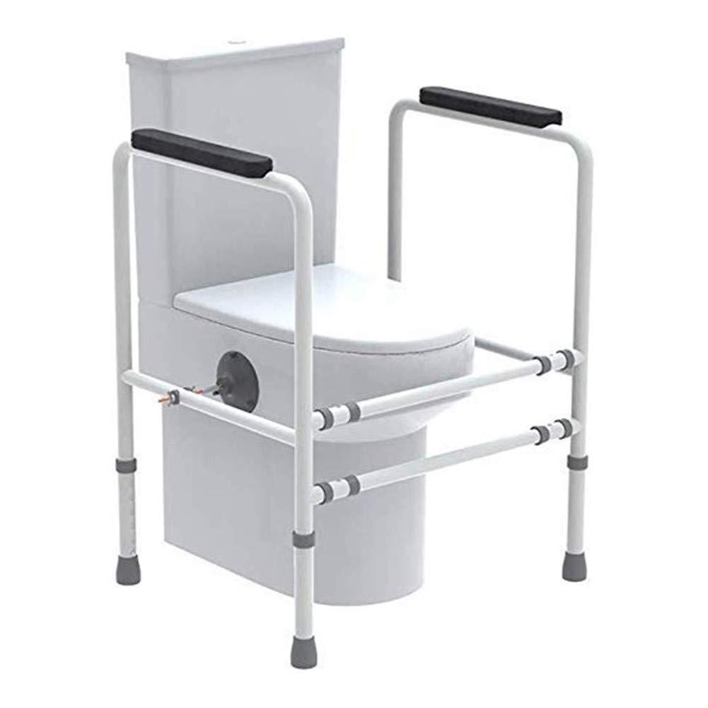JJZXPJ Toilet Rail Frame,Bathroom Safety Assist Frame Adjustable Width and Height Stand Alone Safety Frame for Toilet with Handrail for Senior,Pregnant,Disabled,Handicap by JJZXPJ